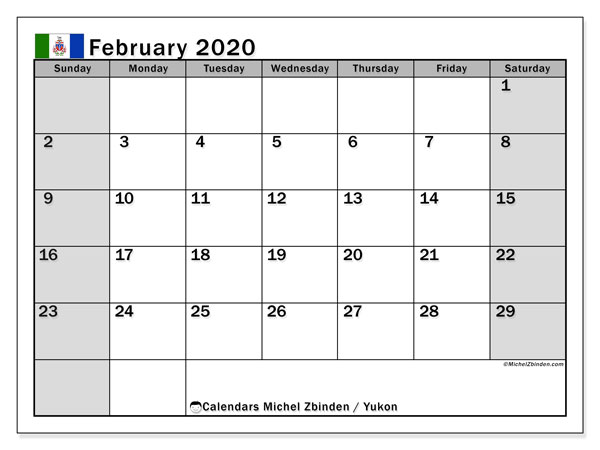 Calendar February 2020 - Yukon. Public Holidays. Monthly Calendar and free planner to print.