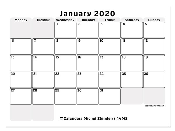 Printable calendar, January 2020, 44MS