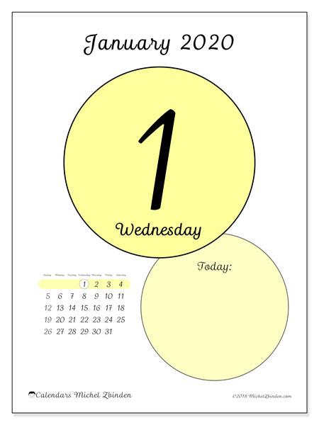 January 1 2020 Calendar January 2020 Calendar (45 1SS)   Michel Zbinden EN