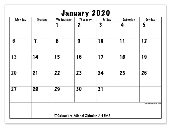 Printable calendar, January 2020, 48MS