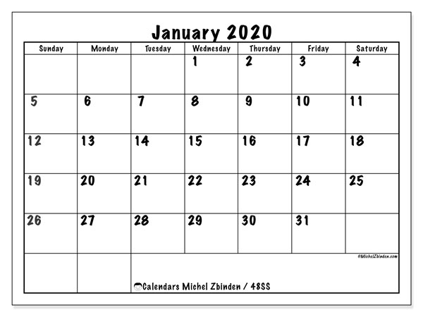 Printable calendar, January 2020, 48SS