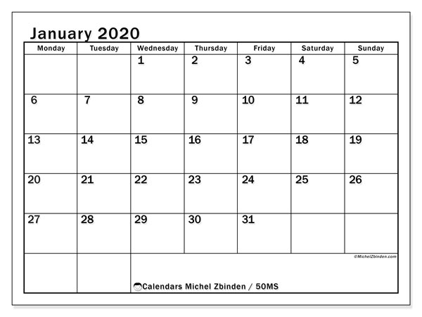 Printable calendar, January 2020, 50MS