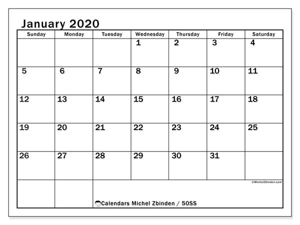 "Printable January 2020 calendar. Monthly calendar ""50SS"" and free bullet journal to print"