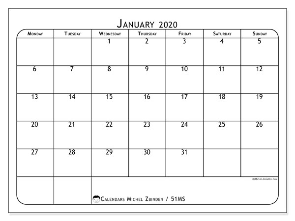 January 2020 Calendar, 51MS. Monthly calendar to print free.