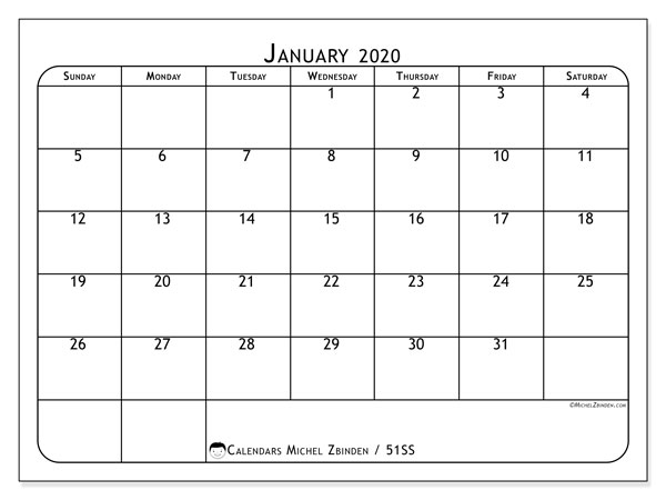Printable calendar, January 2020, 51SS