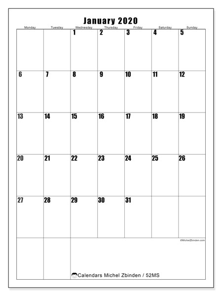 Printable calendar, January 2020, 52MS