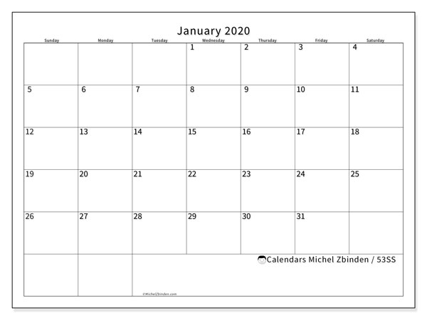 Printable calendar, January 2020, 53SS