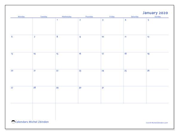 January 2020 Calendar, 55MS. Planner to print free.