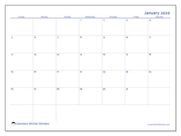 Calendar  January 2020, 55SS