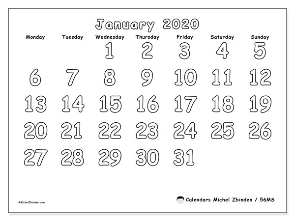 January 2020 Calendar, 56MS. Calendar for the month to print free.