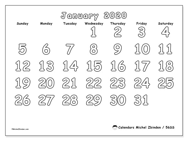 "Printable January 2020 calendar. Monthly calendar ""56SS"" and schedule to print free"