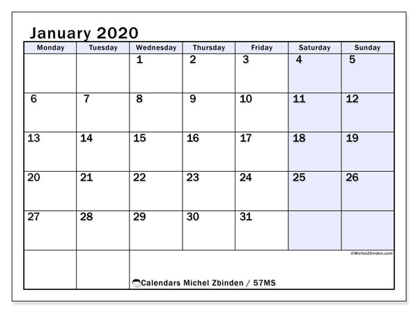 January 2020 Calendar, 57MS. Planner to print free.