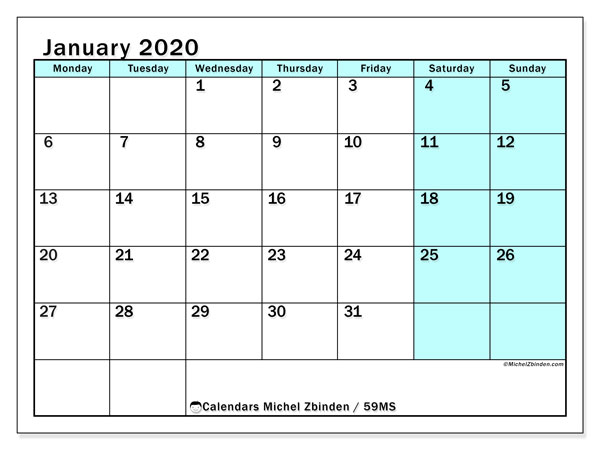 January 2020 Calendar, 59MS. Calendar to print free.