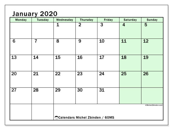 Printable calendar, January 2020, 60MS