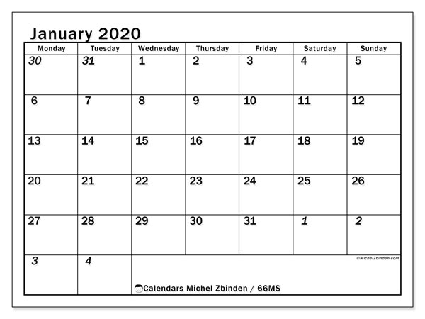 Calendar January 2020 - 66MS. The Total. Monthly Calendar and free schedule to print.