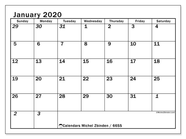 Printable calendar, January 2020, 66SS