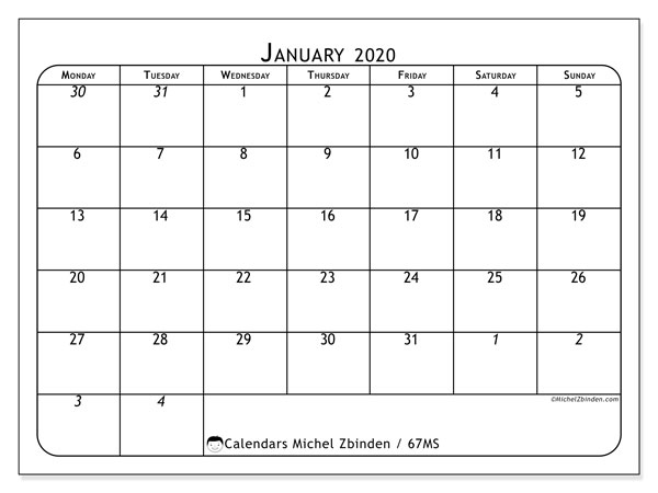 January 2020 Calendar, 67MS. Calendar to print free.