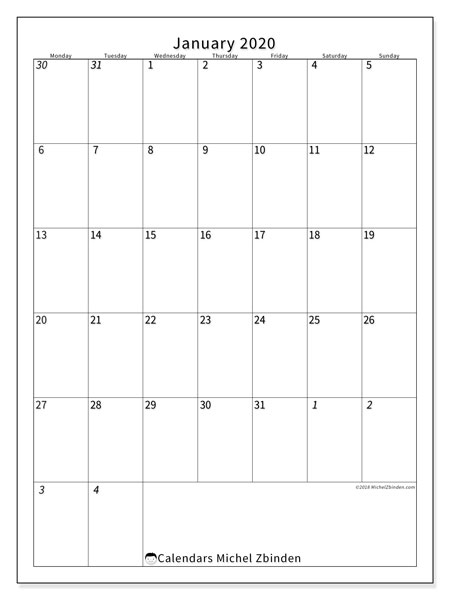 Calendar  January 2020, 68MS