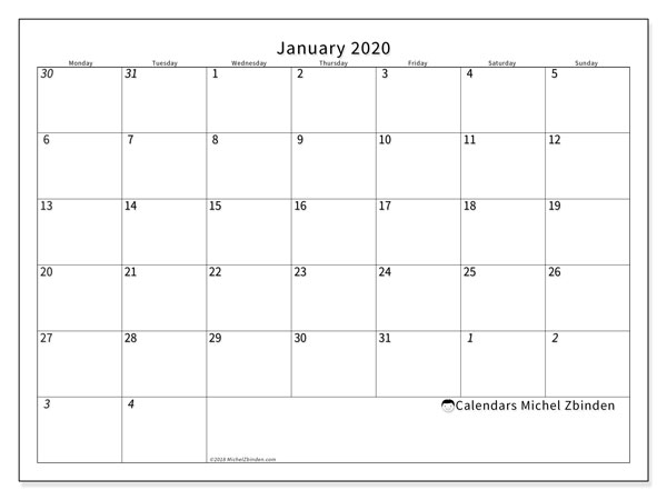 January 2020 Calendar, 70MS. Calendar for the month to print free.