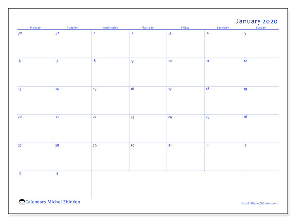 January 2020 Calendar, 73MS. Calendar for the month to print free.