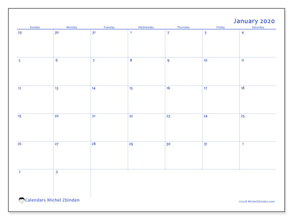 January 2020 Calendar, 73SS. Calendar for the month to print free.