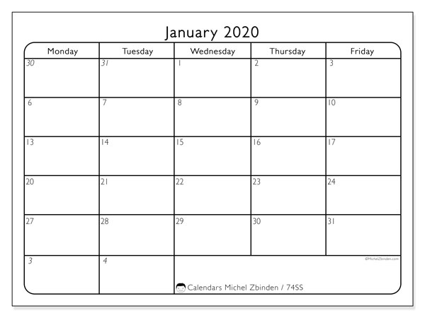 Printable calendars, January 2020, Sunday - Saturday