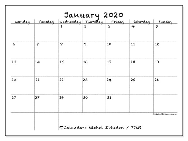 Printable calendar, January 2020, 77MS