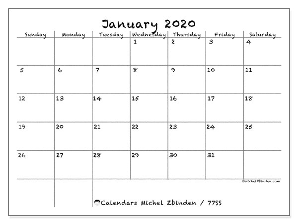 Printable calendar, January 2020, 77SS