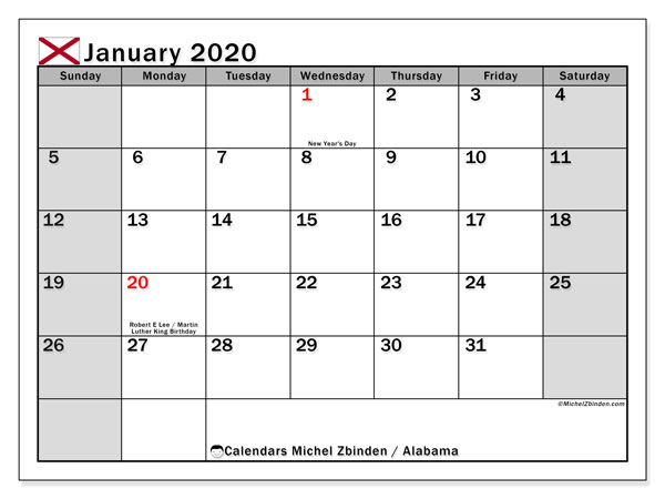 January 2020 Calendar, with the holidays of Alabama. Holidays calendar to print free.
