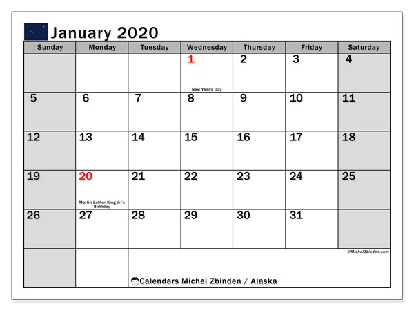 Calendar January 2020 - Alaska. Public Holidays. Monthly Calendar and planner to print free.