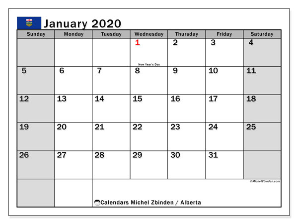 January 2020 Calendar, with the holidays of Alberta. Free printable calendar with public holidays.