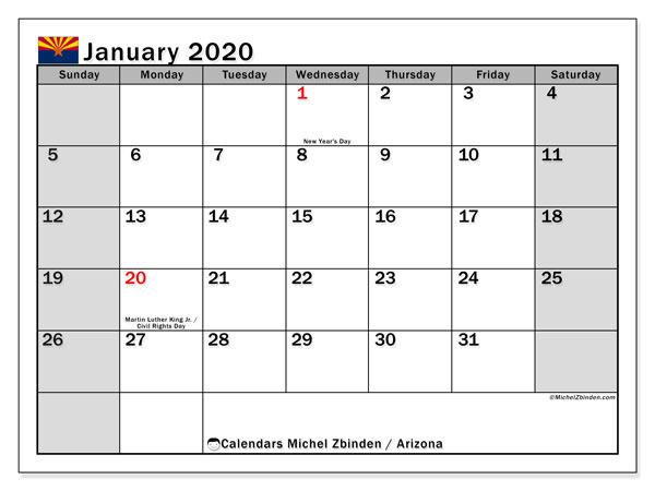 January 2020 Calendar, with the holidays of Arizona. Holidays calendar to print free.