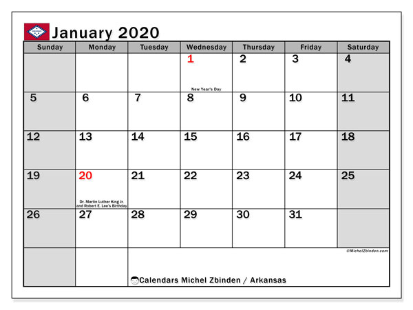 January 2020 Calendar, with the holidays of Arkansas. Free printable calendar with public holidays.
