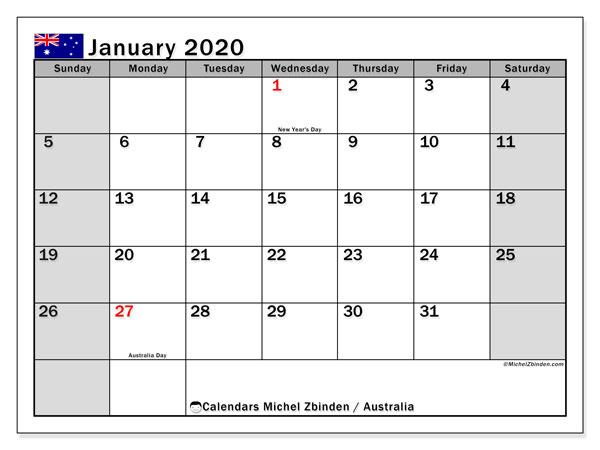 2020 Calendars Australia January 2020 Calendar, Australia   Michel Zbinden EN