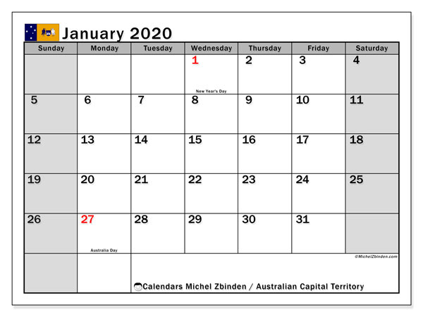 "Printable ""Australian Capital Territory"" calendar with public holidays. Monthly January 2020 calendar and free printable bullet journal."