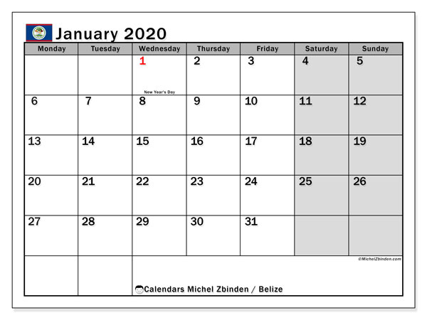 Calendar January 2020 - Belize. Public Holidays. Monthly Calendar and free timetable to print.
