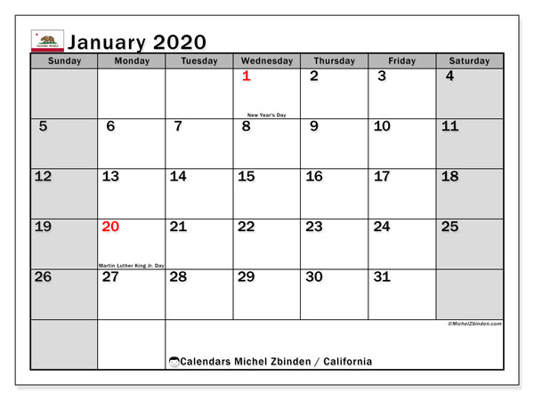 Calendar January 2020 - California. Public Holidays. Monthly Calendar and free printable timetable.