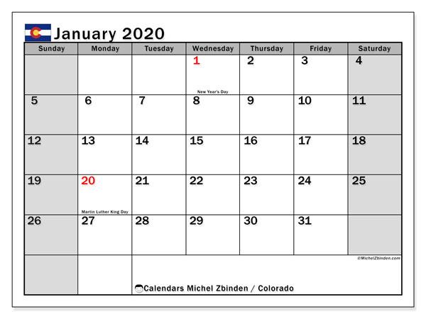 January 2020 Calendar, with the holidays of Colorado. Free printable calendar with public holidays.