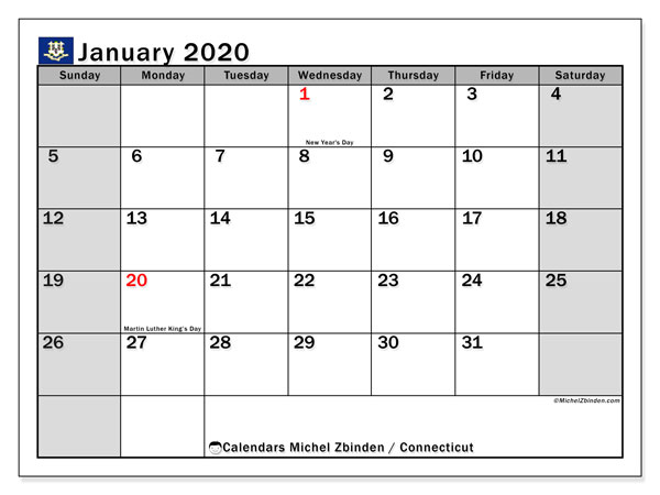 January 2020 Calendar, with the holidays of Connecticut. Holidays calendar to print free.