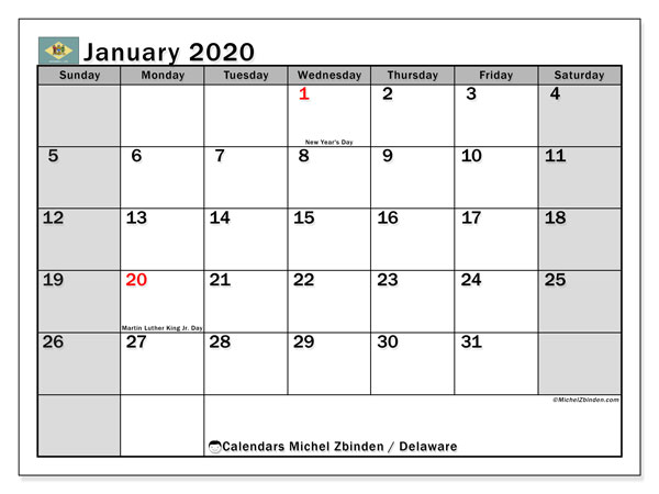Calendar January 2020 - Delaware. Public Holidays. Monthly Calendar and free agenda to print.