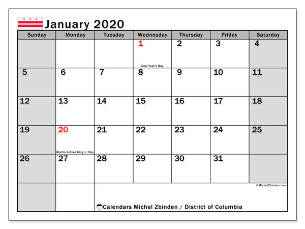 January 2020 Calendar, with the District of Columbia holidays. Holidays calendar to print free.