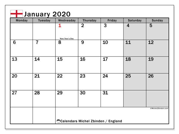 January 2020 Calendar, with the holidays of England. Holidays calendar to print free.