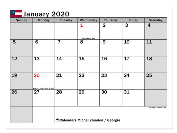 January 2020 Calendar, with the holidays of Georgia. Free printable calendar with public holidays.