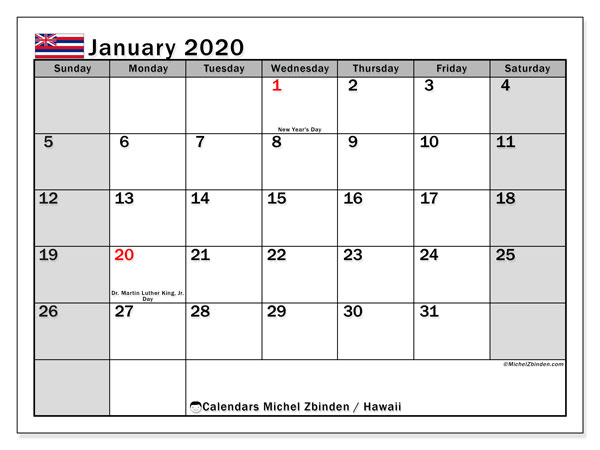 Calendar January 2020 - Hawaii. Public Holidays. Monthly Calendar and planner to print free.