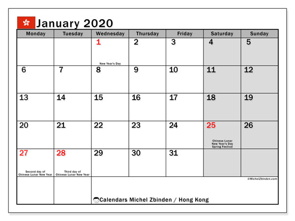 January 2020 Calendar, with the holidays of Hong Kong. Free printable calendar with public holidays.