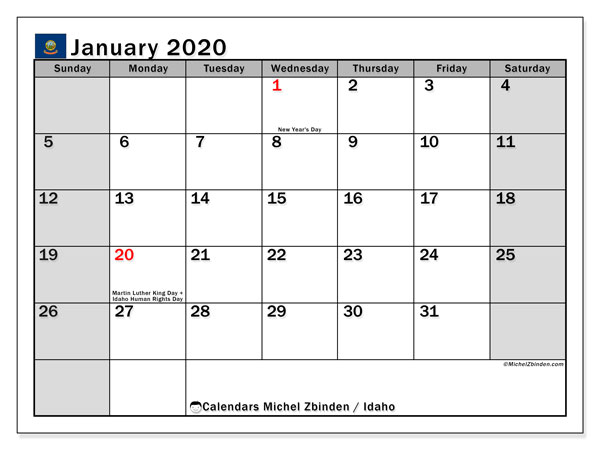 January 2020 Calendar, with the holidays of Idaho. Holidays calendar to print free.
