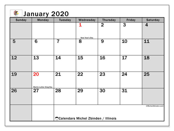 January 2020 Calendar, with the holidays of Illinois. Holidays calendar to print free.