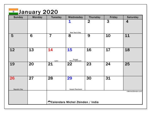 January 2020 Calendar, with the holidays of India. Free printable calendar with public holidays.