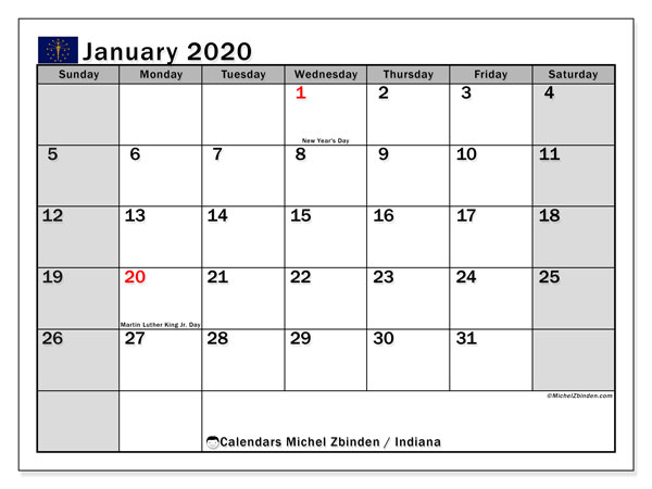 Calendar January 2020 - Indiana. Public Holidays. Monthly Calendar and free printable agenda.
