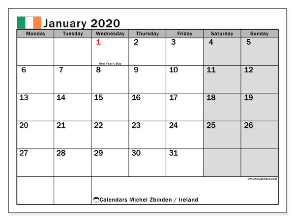 January 2020 Calendar, with the holidays of Ireland. Holidays calendar to print free.